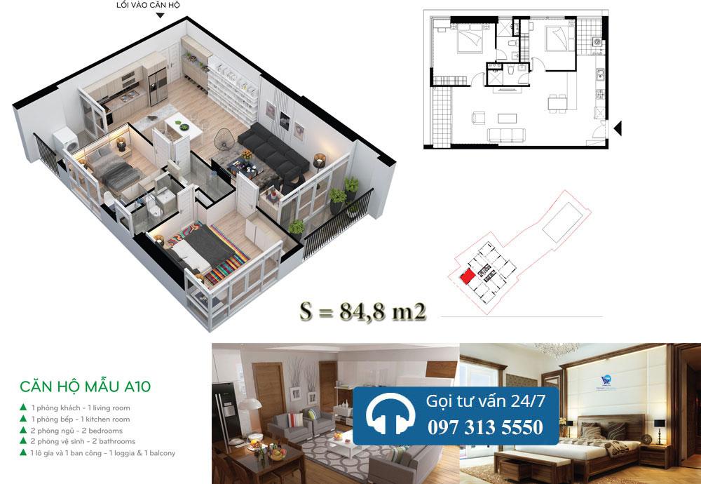 Mặt bằng chi tiết căn hộ điển hình A10
