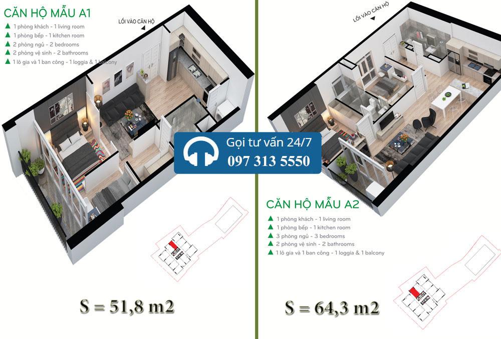 Mặt bằng chi tiết căn hộ điển hình A2