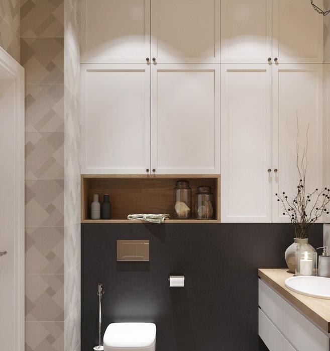 Phòng tắm thứ hai này lại nổi bật với tường gạch họa tiết ở phía sau bàn trang điểm, và bên cạnh là một bức tường ốp gỗ