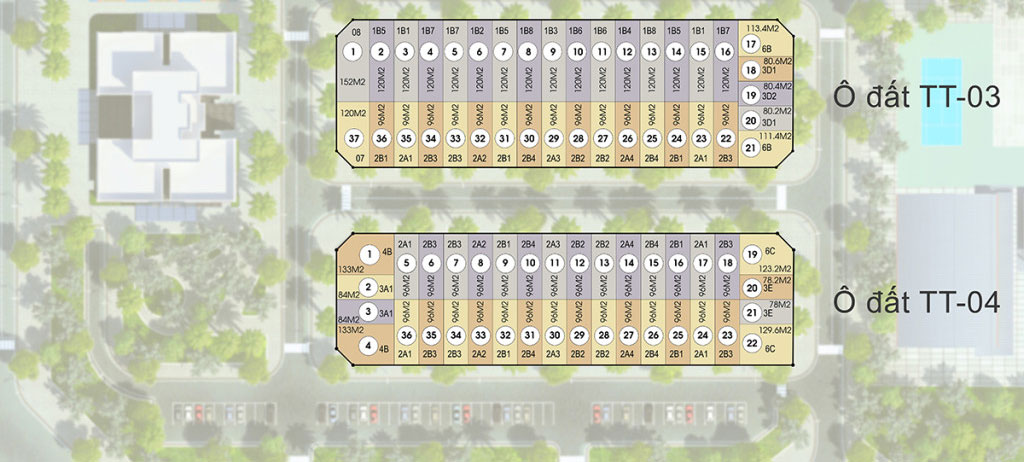 Mặt bằng phân lô dự án liền kề HD Mon City TT03 gồm 37 lô – TT04 gồm 36 lô