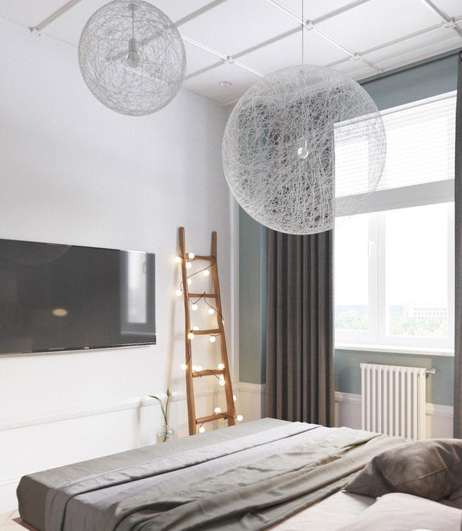 Phòng ngủ nhẹ nhàng với sắc xanh nhạt cùng tông màu ghi đơn giản.