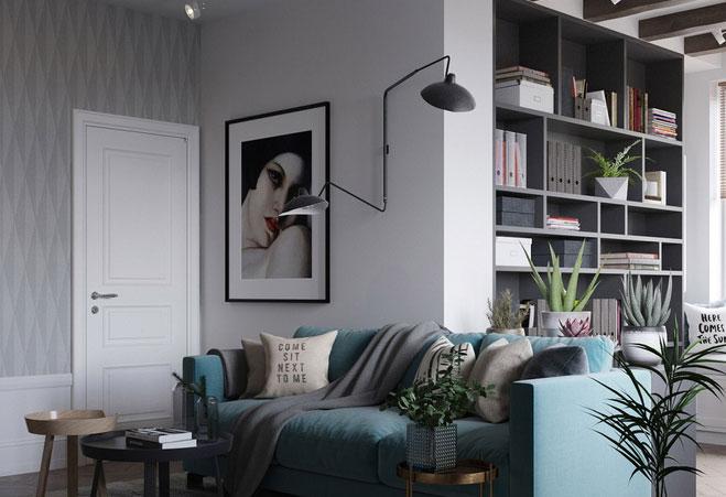 Sofa với gam màu xanh nhẹ nhàng
