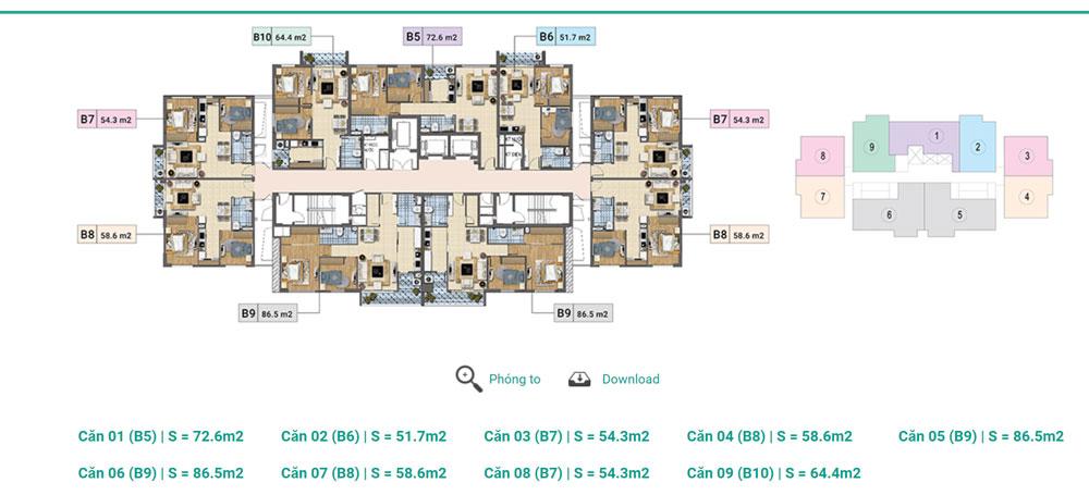ầng 14 - 17A Tháp A,B,C chung cư Xuân PhươngResidence