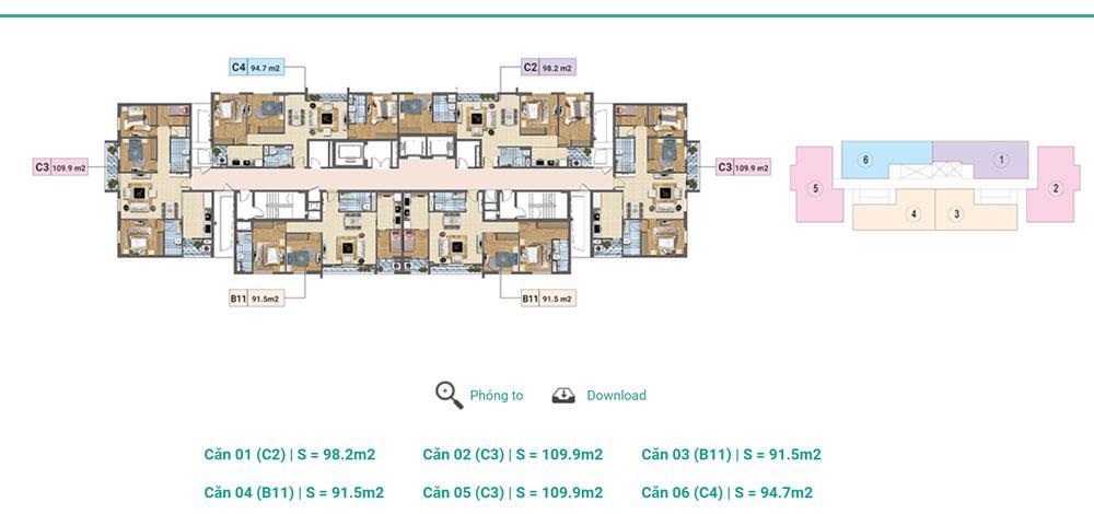 Tầng 3 - 12A Tháp D Chung cư Xuân Phương