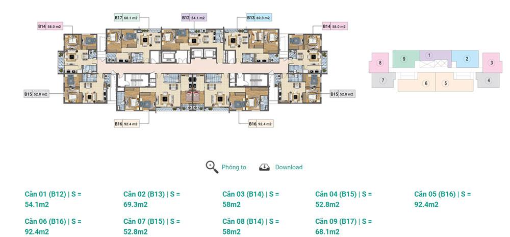 Tầng 14 - 17 Tháp D chung cư Xuân Phương