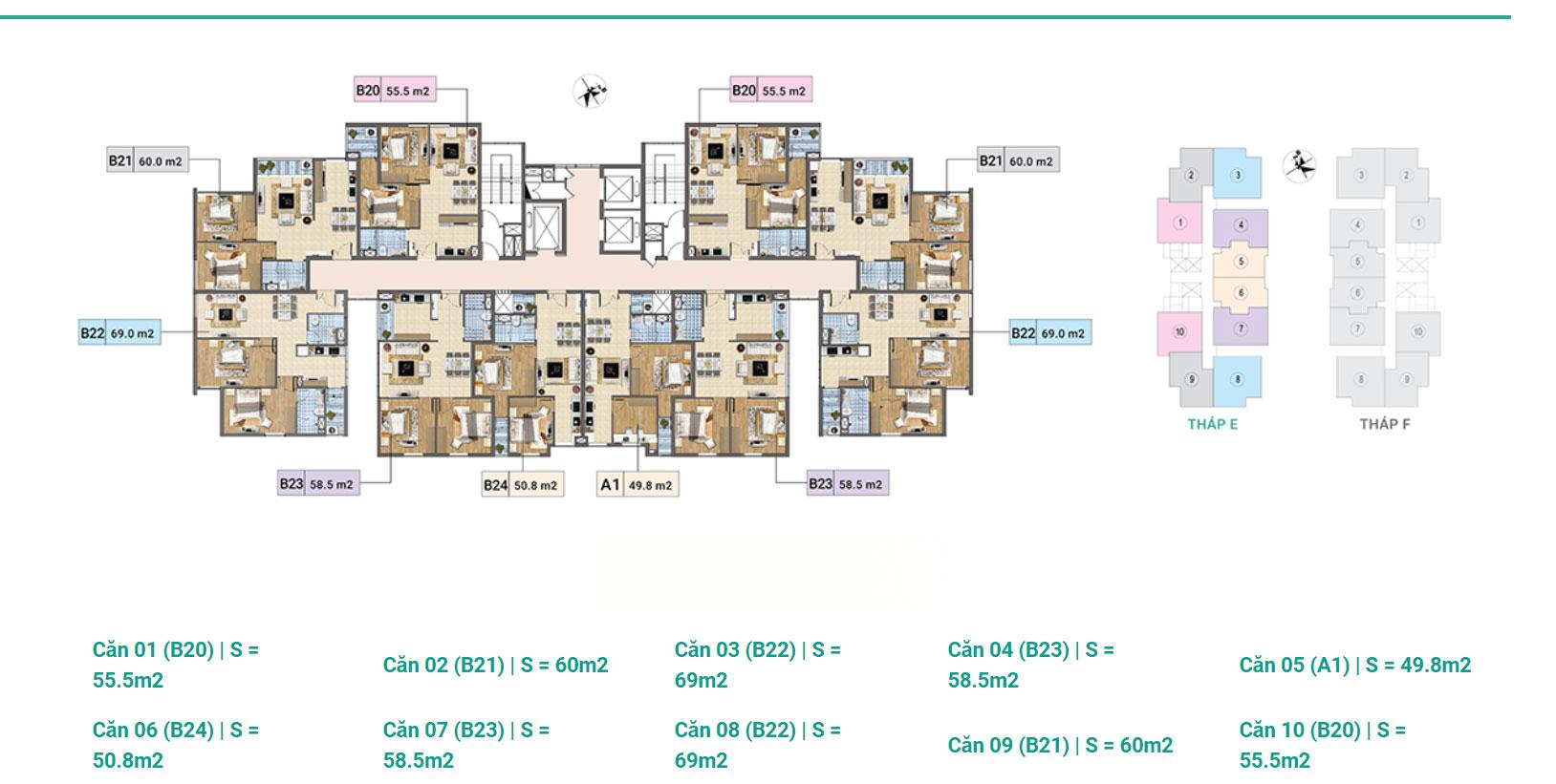 Tầng 14-17 Tháp E chung cư Xuân Phương