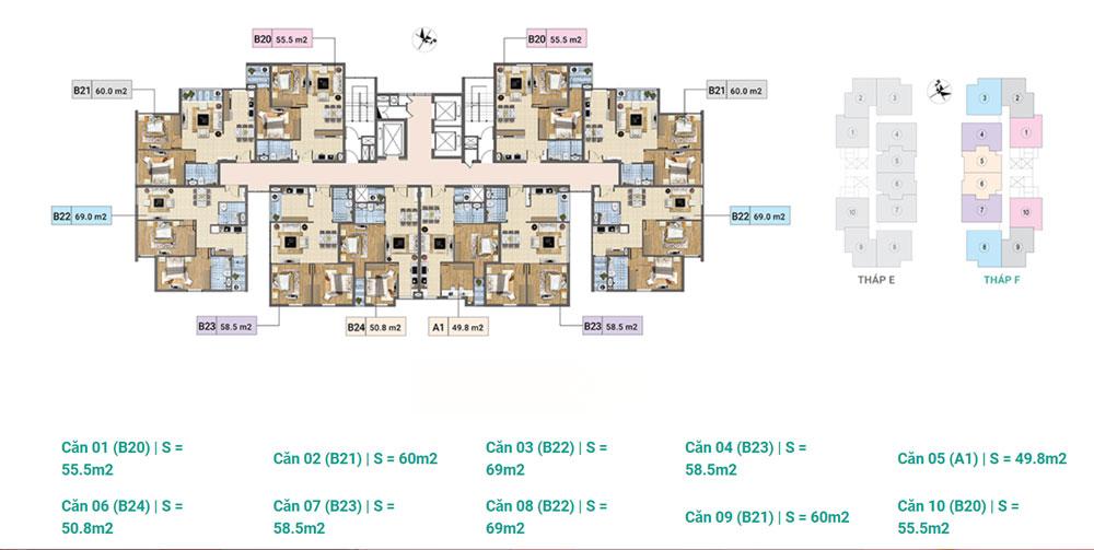 Tầng 14-17 Tháp F chung cư Xuân Phương