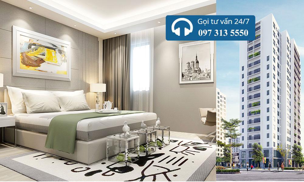 Mẫu thiết kế nội thất phòng ngủ chung cư Xuân Phương